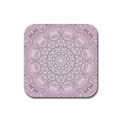 Pink Mandala art  Rubber Coaster (Square)