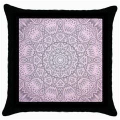 Pink Mandala art  Throw Pillow Case (Black)