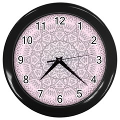 Pink Mandala art  Wall Clocks (Black)
