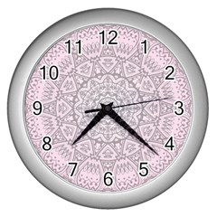 Pink Mandala art  Wall Clocks (Silver)