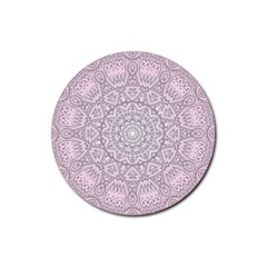 Pink Mandala art  Rubber Round Coaster (4 pack)