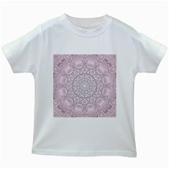 Pink Mandala art  Kids White T-Shirts