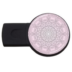 Pink Mandala art  USB Flash Drive Round (2 GB)