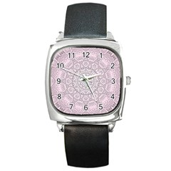 Pink Mandala art  Square Metal Watch