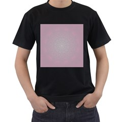 Pink Mandala art  Men s T-Shirt (Black) (Two Sided)