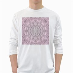 Pink Mandala art  White Long Sleeve T-Shirts