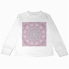 Pink Mandala art  Kids Long Sleeve T-Shirts