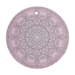 Pink Mandala Art  Round Ornament (two Sides) by paulaoliveiradesign