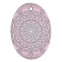Pink Mandala Art  Oval Ornament (two Sides) by paulaoliveiradesign