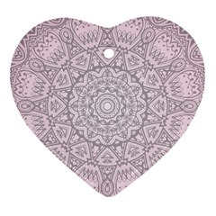 Pink Mandala Art  Heart Ornament (two Sides) by paulaoliveiradesign