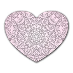 Pink Mandala art  Heart Mousepads