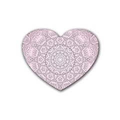 Pink Mandala art  Rubber Coaster (Heart)