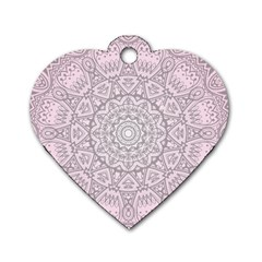 Pink Mandala art  Dog Tag Heart (Two Sides)