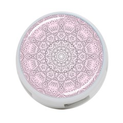 Pink Mandala art  4-Port USB Hub (One Side)