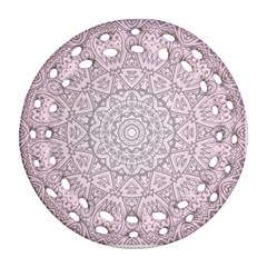 Pink Mandala Art  Round Filigree Ornament (two Sides) by paulaoliveiradesign