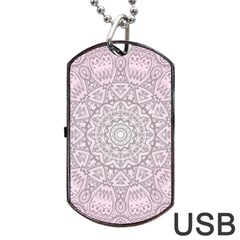 Pink Mandala art  Dog Tag USB Flash (One Side)