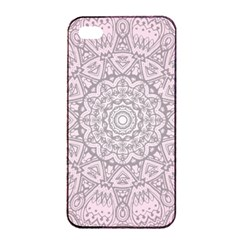 Pink Mandala Art  Apple Iphone 4/4s Seamless Case (black) by paulaoliveiradesign