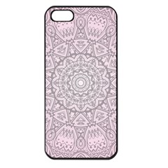 Pink Mandala Art  Apple Iphone 5 Seamless Case (black) by paulaoliveiradesign