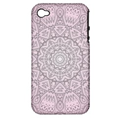 Pink Mandala Art  Apple Iphone 4/4s Hardshell Case (pc+silicone) by paulaoliveiradesign