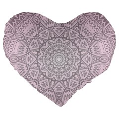 Pink Mandala art  Large 19  Premium Heart Shape Cushions