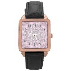 Pink Mandala art  Rose Gold Leather Watch