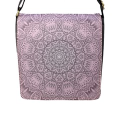 Pink Mandala art  Flap Messenger Bag (L)