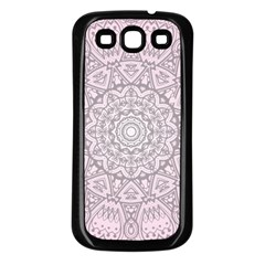 Pink Mandala art  Samsung Galaxy S3 Back Case (Black)