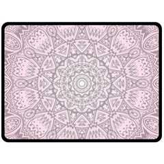 Pink Mandala art  Double Sided Fleece Blanket (Large)