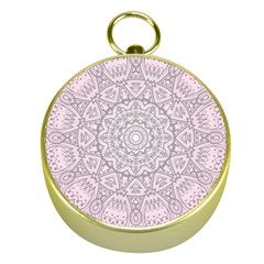 Pink Mandala art  Gold Compasses