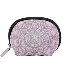 Pink Mandala art  Accessory Pouches (Small)