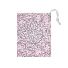 Pink Mandala art  Drawstring Pouches (Medium)