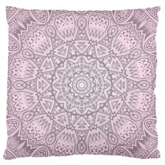 Pink Mandala art  Large Flano Cushion Case (One Side)