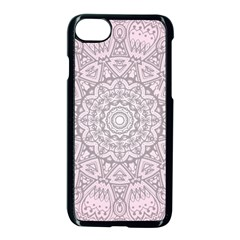 Pink Mandala Art  Apple Iphone 7 Seamless Case (black) by paulaoliveiradesign