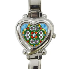 Cute Floral Mandala  Heart Italian Charm Watch by paulaoliveiradesign