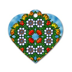 Cute Floral Mandala  Dog Tag Heart (one Side) by paulaoliveiradesign