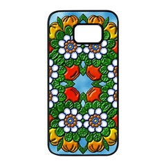 Cute Floral Mandala  Samsung Galaxy S7 Edge Black Seamless Case