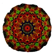 Fractal Mandala Abstract Pattern Large 18  Premium Round Cushions by paulaoliveiradesign