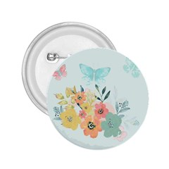 Watercolor Floral Blue Cute Butterfly Illustration 2 25  Buttons by paulaoliveiradesign