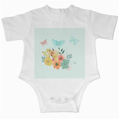 Watercolor Floral Blue Cute Butterfly Illustration Infant Creepers