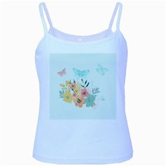 Watercolor Floral Blue Cute Butterfly Illustration Baby Blue Spaghetti Tank