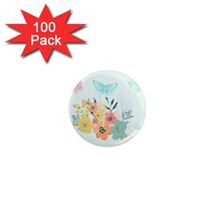 Watercolor Floral Blue Cute Butterfly Illustration 1  Mini Magnets (100 Pack)