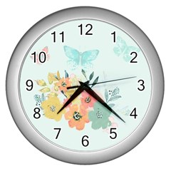 Watercolor Floral Blue Cute Butterfly Illustration Wall Clocks (silver)  by paulaoliveiradesign