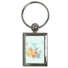 Watercolor Floral Blue Cute Butterfly Illustration Key Chains (rectangle)