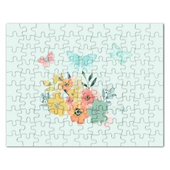 Watercolor Floral Blue Cute Butterfly Illustration Rectangular Jigsaw Puzzl