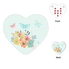 Watercolor Floral Blue Cute Butterfly Illustration Playing Cards (heart)  by paulaoliveiradesign