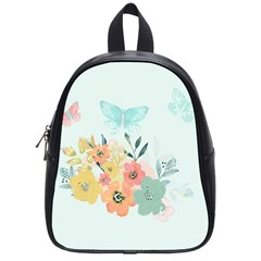 Watercolor Floral Blue Cute Butterfly Illustration School Bag (small) by paulaoliveiradesign