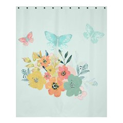 Watercolor Floral Blue Cute Butterfly Illustration Shower Curtain 60  X 72  (medium)  by paulaoliveiradesign