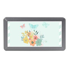 Watercolor Floral Blue Cute Butterfly Illustration Memory Card Reader (mini) by paulaoliveiradesign
