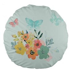 Watercolor Floral Blue Cute Butterfly Illustration Large 18  Premium Round Cushions by paulaoliveiradesign