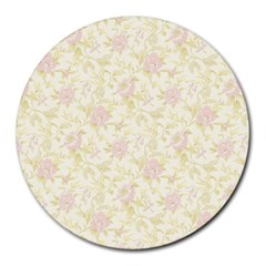 Floral Paper Pink Girly Pattern Round Mousepads by paulaoliveiradesign